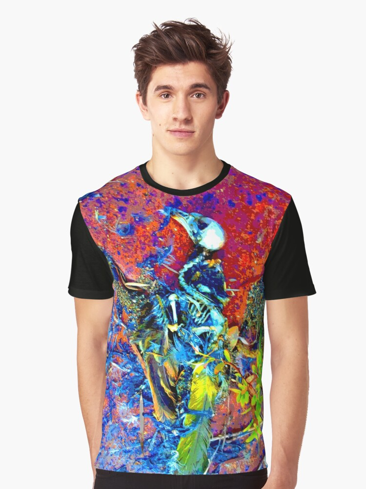 Bright bird skull and skeleton 01, Paula DeaconPE Graphic T-Shirt Front