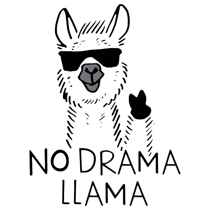 """Llama Clipart Black And White """"No Drama LLAMA M..."""
