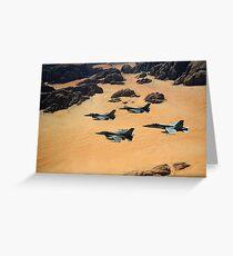 Military planes flying over the Wadi Rum desert in Jordan. Greeting Card