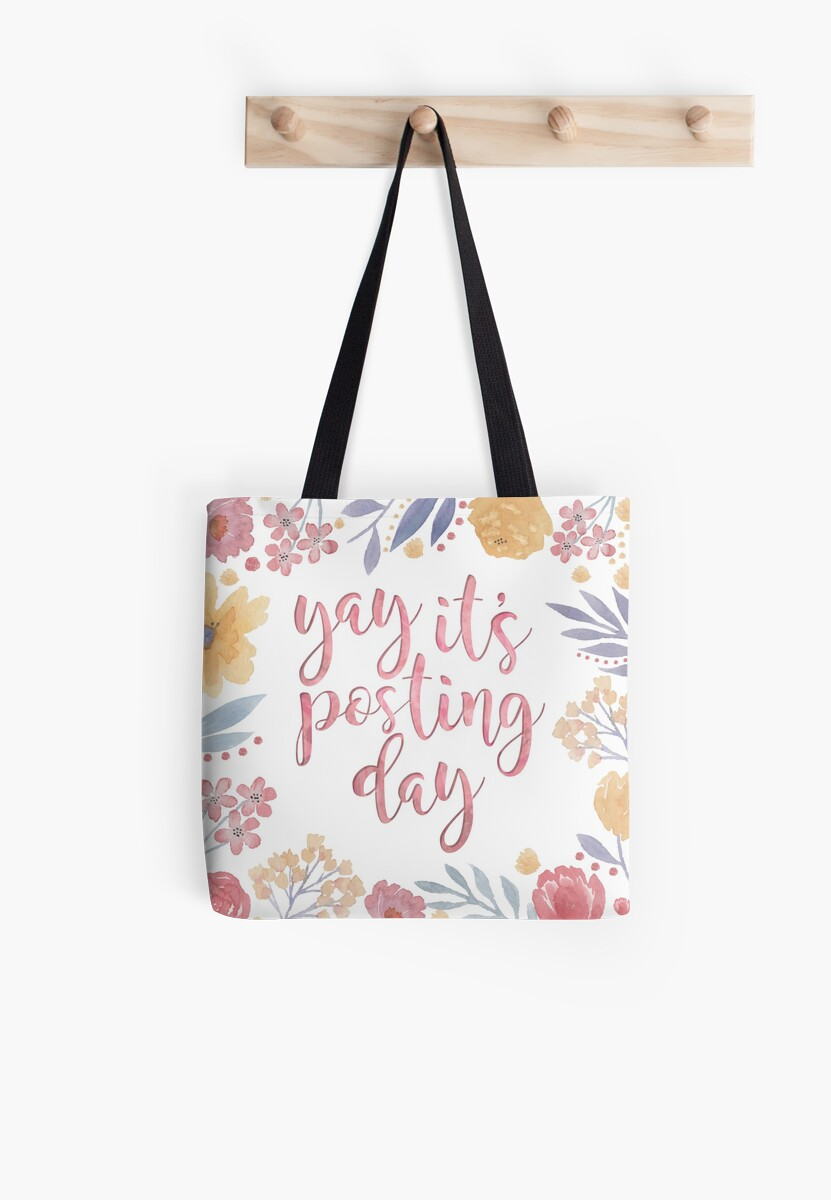 Yay It's Posting Day Tote Bag Postal Design by tachadesigns