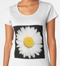 Top View of a White Common Daisy Isolated on Black Women's Premium T-Shirt
