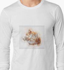 Cute Cat Art Drawing Watercolor Long Sleeve T-Shirt