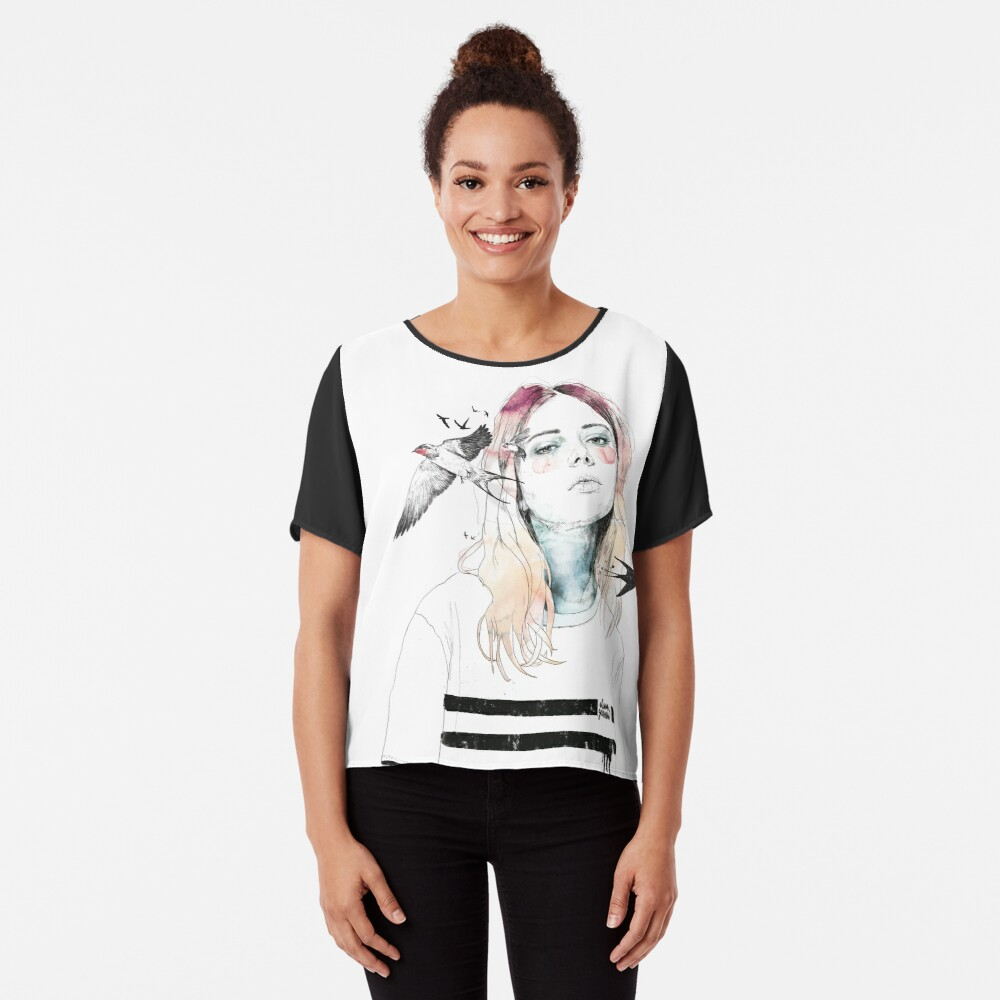 TAKE OUT YOUR BIRDS Chiffon Top