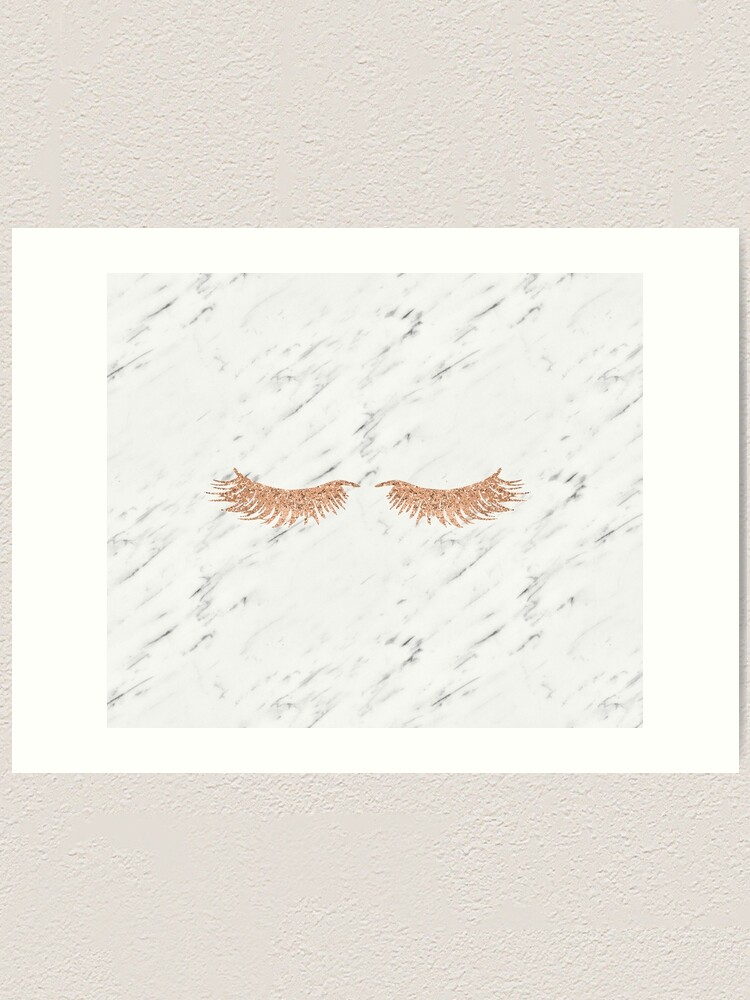 Rose gold marble lash envy | Art Print