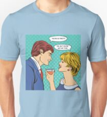 Flirting Couple. Woman Drinking Champagne. Man Flirts with a Woman. Woman with a Glass. Pop Art Banner.  T-Shirt