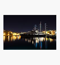 Reflecting on Malta - Luxury Superyachts in Valletta Photographic Print