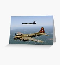 A B-17G Flying Fortress participates in a heritage flight with a B-52H Stratofortress. Greeting Card