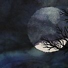 Full Moon with Tree on Canvas by Emily Meder