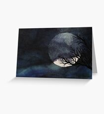 Full Moon with Tree on Canvas Greeting Card