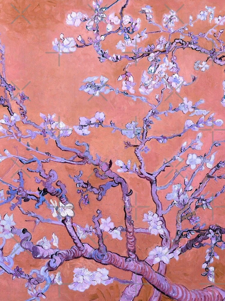"Van Gogh's ""Almond blossoms"" with orange background by ALD1"