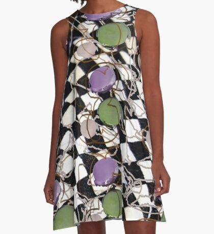 Checkerboard Pastel Montage A-Line Dress