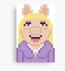Miss Piggy The Muppets Pixel Character Canvas Print