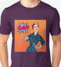 Girl with Tools. Woman with Tools. Working Woman. Woman Gesturing Great. Woman Repairer. Pop Art Banner. Retro Pin Up Girl.  T-Shirt