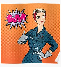 Girl with Tools. Woman with Tools. Working Woman. Woman Gesturing Great. Woman Repairer. Pop Art Banner. Retro Pin Up Girl.  Poster