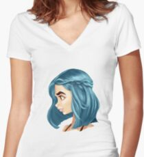 Blue hair girl Women's Fitted V-Neck T-Shirt