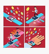 Smart Watch. Modern Technology. Modern Lifestyle. Man Running. Woman Running. Isometric Concept. Illustration Photographic Print