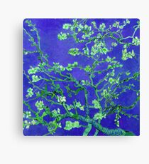 van goghs almond blossoms with dark blue background Canvas Print