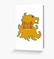House Lannister Sigil and Banner - Hear me roar - Game of Thrones Greeting Card