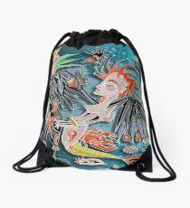 mermaid and the crow Drawstring Bag