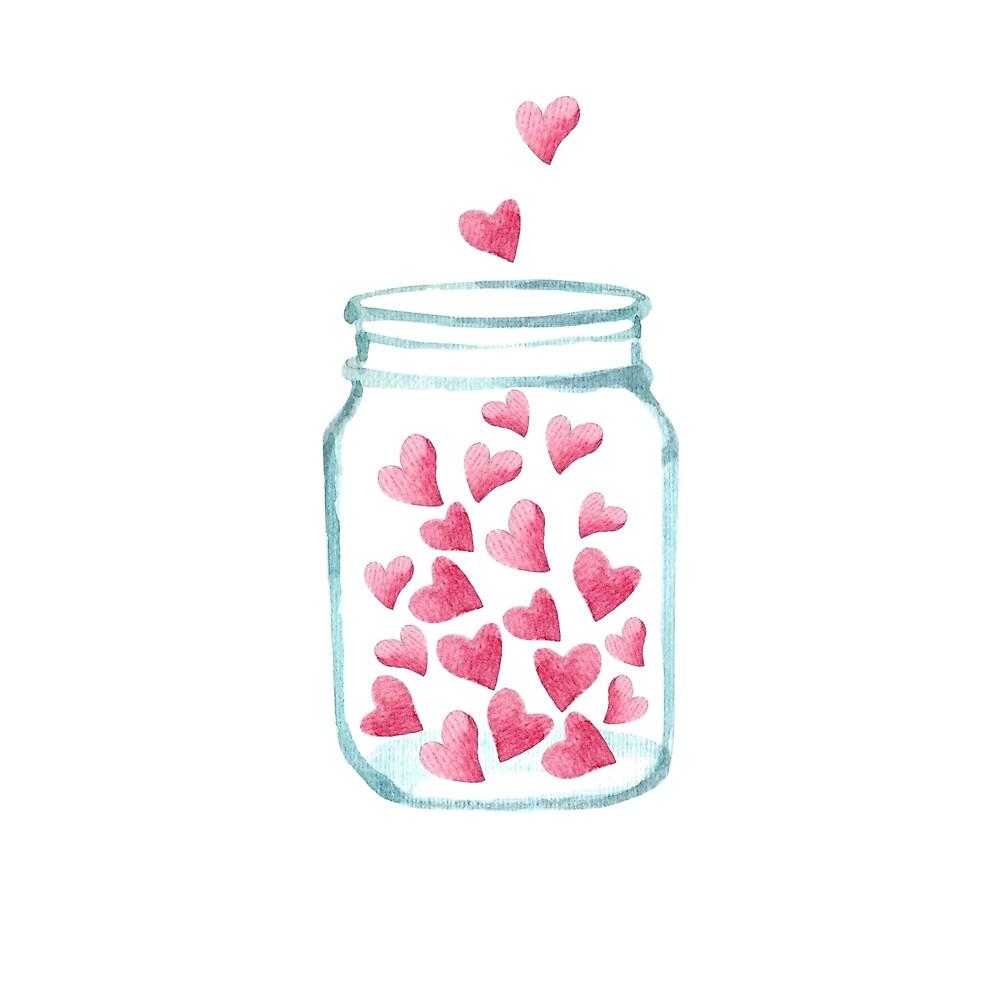 Jar of Hearts Watercolor by DesignsbyAngela
