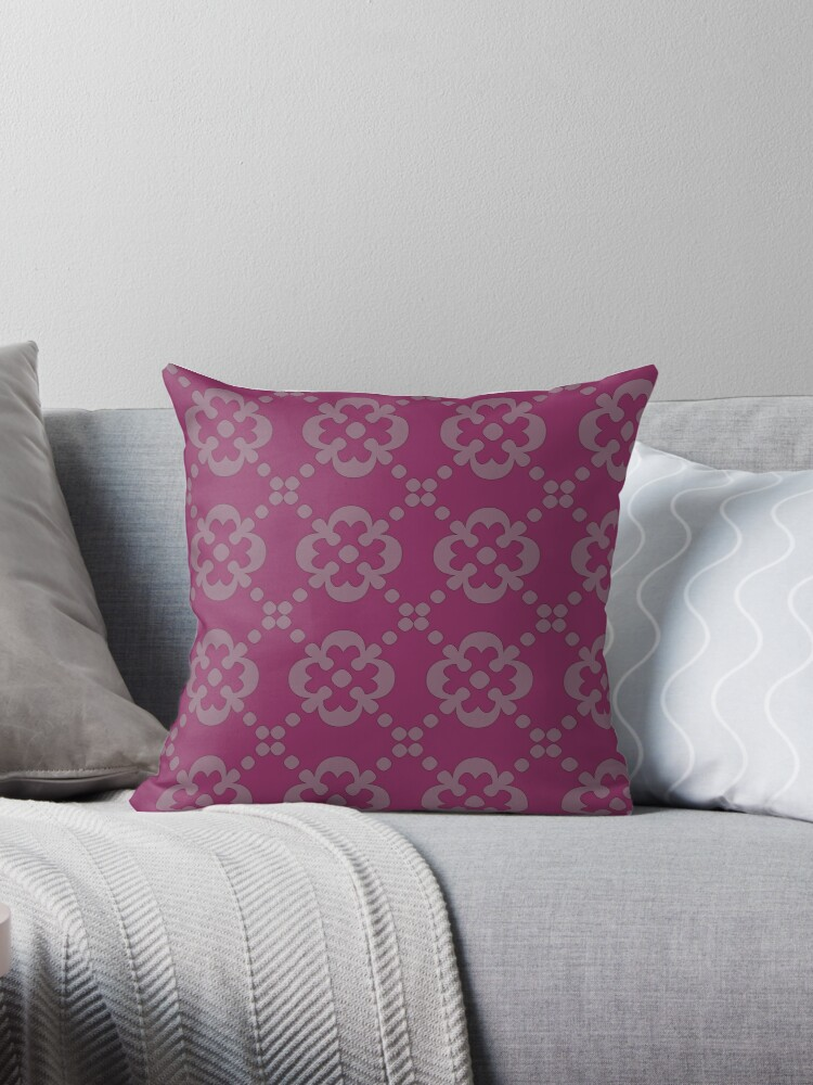 Dark Pink Pillow with Classic Decoration Pattern by ibadishi