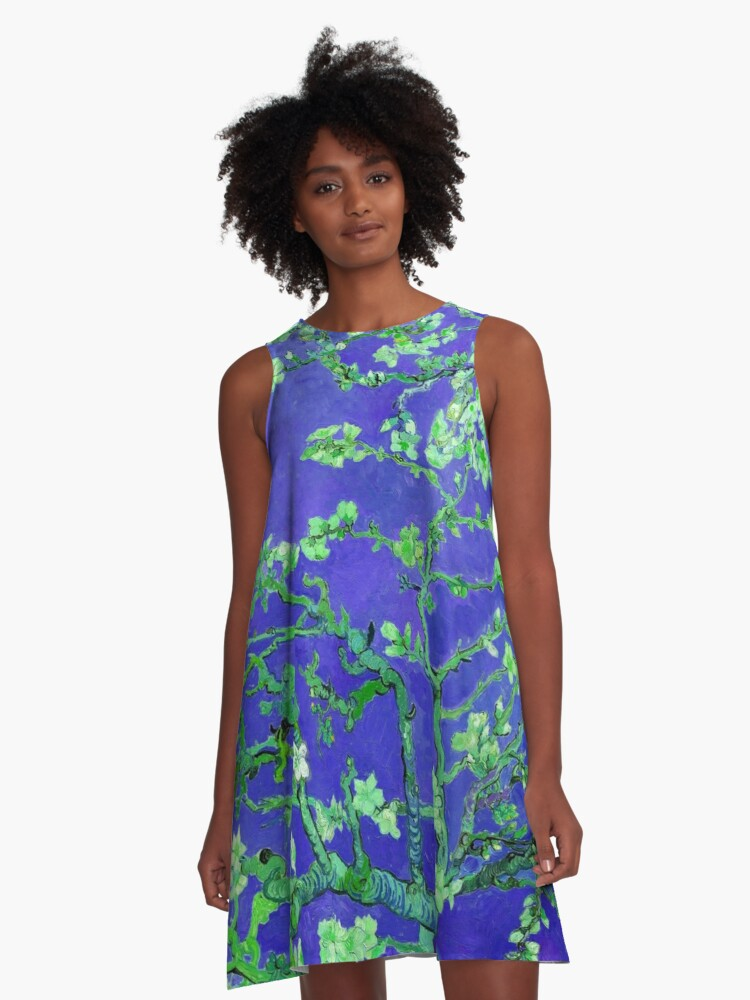 "Van Gogh's ""Almond blossoms"" with dark blue background A-Line Dress Front"