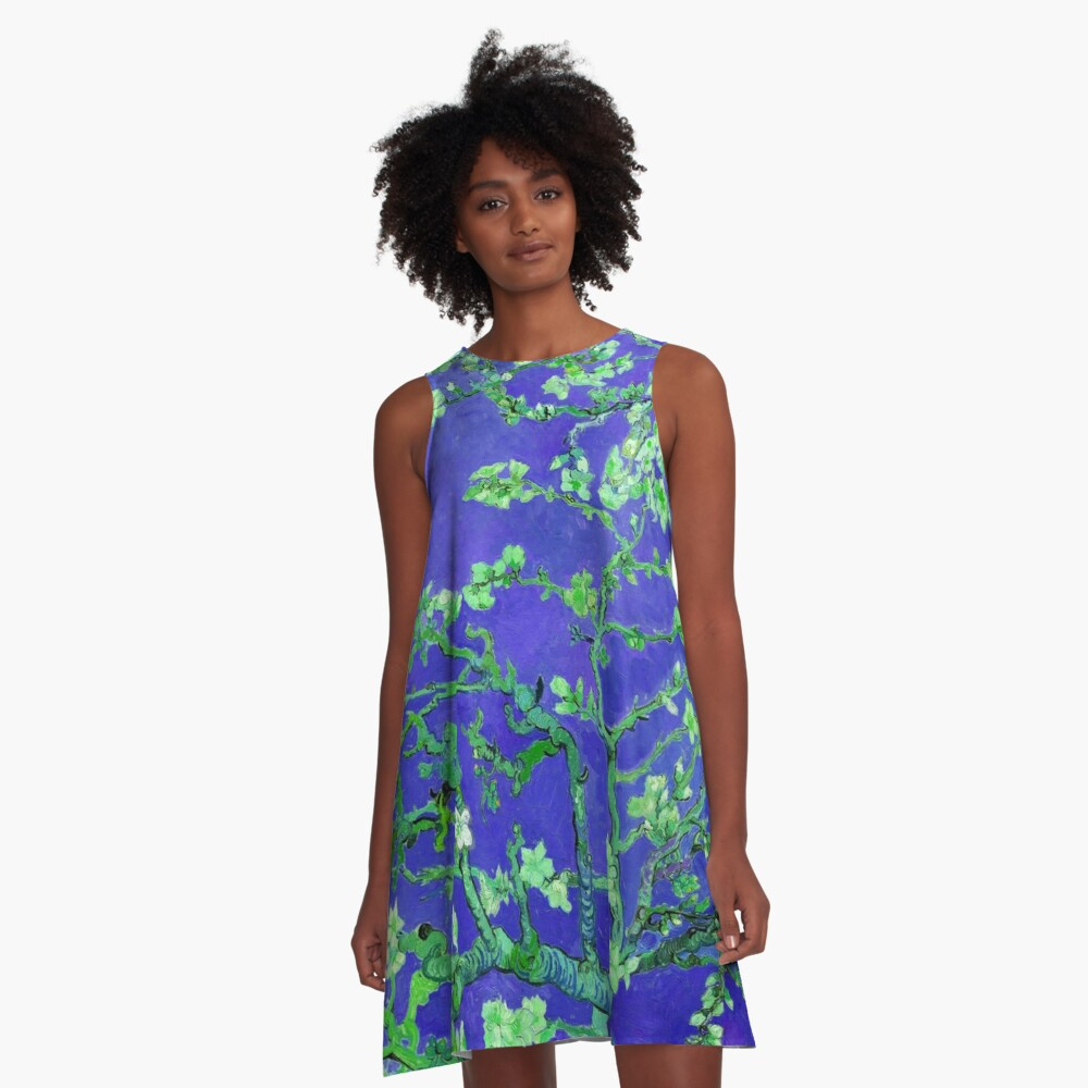 """Van Gogh's """"Almond blossoms"""" with dark blue background A-Line Dress Front"""