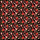Cute strawberry and geometric heart pattern on black  by lightwanderer