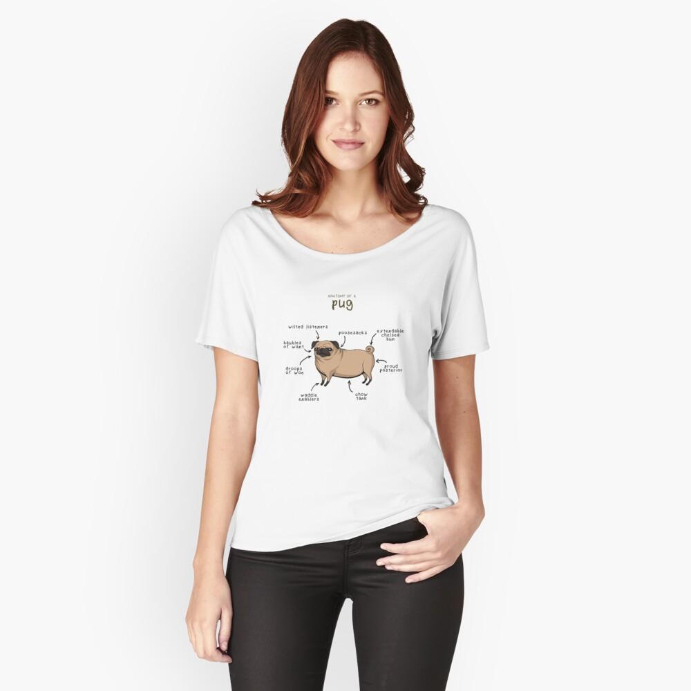 Pug Anatomy Art Design Women's Relaxed Fit T-Shirt Front