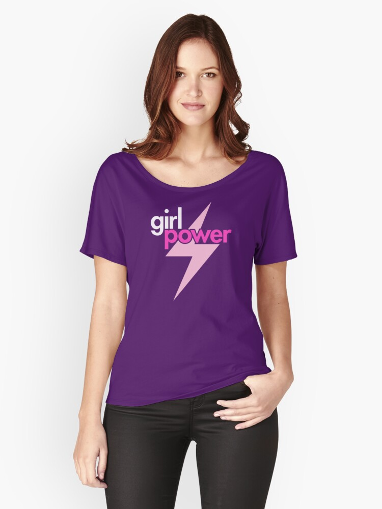 Girl Power with Pink Lightning Bolt Women's Relaxed Fit T-Shirt Front