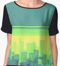 Mint and grape colored landscape Women's Chiffon Top