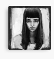 beautiful black and white girl drawing a pencil Canvas Print