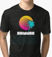 Vaporwave, Retro Futurism Summer Sunset T-Shirt Tri-blend T-Shirt