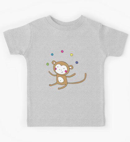 Monkey Juggling - on blue - cute monkey by Cecca Designs Kids Clothes