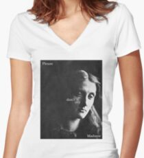 Please don't cry Madame Women's Fitted V-Neck T-Shirt