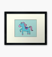 Happy pony - sky blue and pink on sea foam - Cute pony by Cecca Designs Framed Print