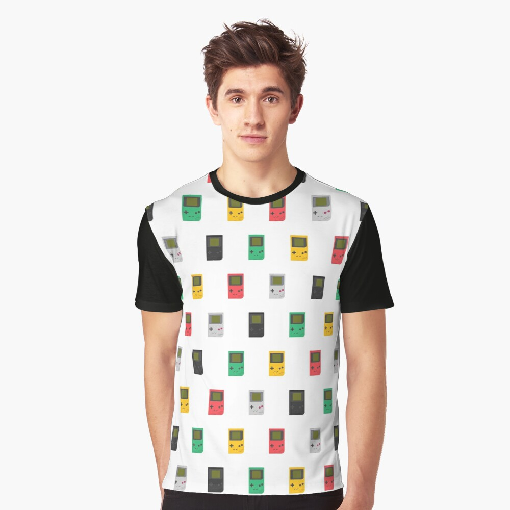 Gameboy Play it Loud! pattern (white) Graphic T-Shirt Front