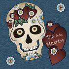 Sugar Skull Hearts and Blue Flowers Denim Background by Joanne Rawson