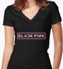 Blackpink Logo- Pink Women's Fitted V-Neck T-Shirt