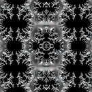Delicate Silver Filigree on Black Fractal Abstract by Artist4God