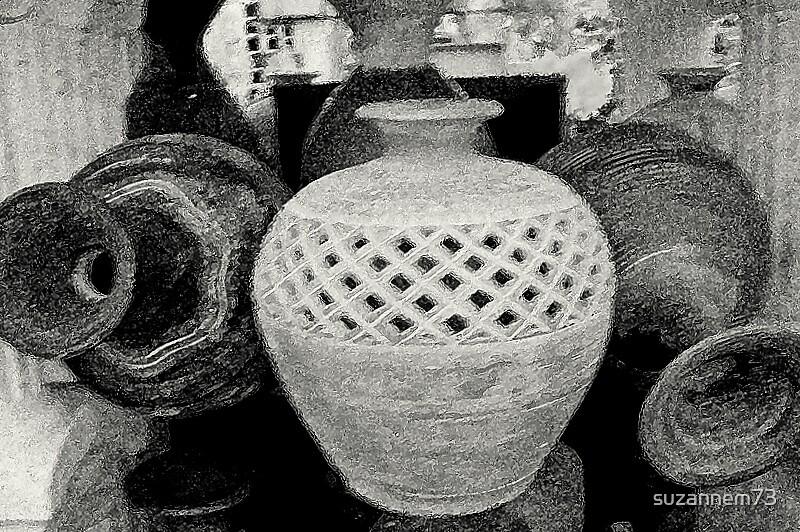 Pretty Pottery in Black & White by suzannem73