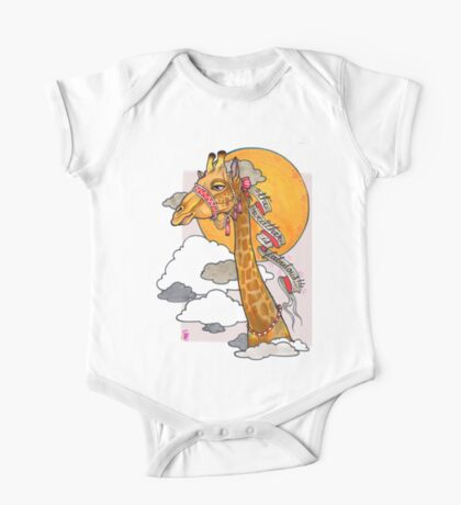 How's the weather up there? - tall giraffe shirt Kids Clothes