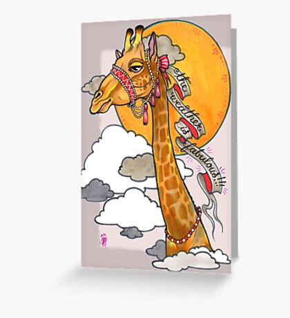 How's the weather up there? - tall giraffe shirt Greeting Card