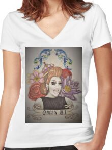 Drawing of Bianca Del Rio Women's Fitted V-Neck T-Shirt