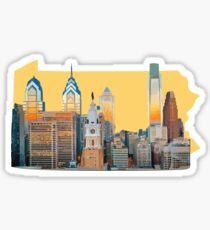 PHILLY SKYLINE ON PA OUTLINE Sticker