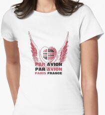Heart Wings Paris Par Avion Series Womens Fitted T-Shirt