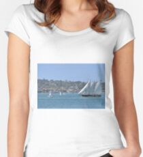 Sail Boat in The Harbor Women's Fitted Scoop T-Shirt