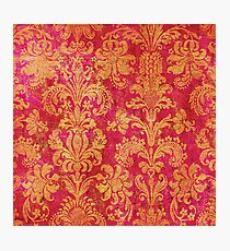 Red and Gold Damask Photographic Print
