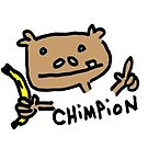 Chimpion in color tshirt by Ollie Brock