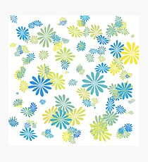 lovely blue, grey, green, yellow  graphic flowers. Photographic Print